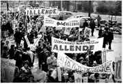 Supporters of Salvador Allende march in Santiago, Chile, rallying behind hi...