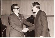 Wall meets Chilean <b>President</b> Salvador Allende (left) in 1971. Courtesy of D...