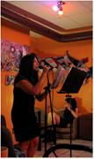 Adeena Karasick performs at Voices from Venus, a monthly <b>feminist</b> poetry se...