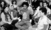 Occupy Wall Street <b>protesters</b> meditate in Zuccotti Park on October 16, 2011...
