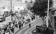 """© Bill Hughes Photos  Workers picket outside a Hyatt hotel in Baltimore. """"H..."""