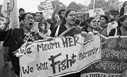 AP Photo/Bikas Das  Protesters in Kolkata, India, decry violence against wo...