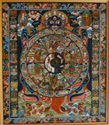 Creative Commons/Mistvan  This Tibetan illustration depicts samsara—the ind...
