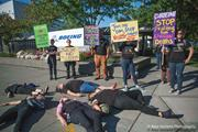 """Activists with Jewish Voice for Peace stage a """"die-in"""" <b>protest</b> outside Boei..."""