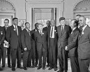 Aug. 28, 1963. President Kennedy with <b>leaders</b> of the March on Washington in...