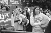 Hillary <b>Clinton</b> supporters cheering at a campaign rally for the former U.S....