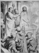Pontius Pilot assigns Jews responsibility for the execution of <b>Jesus</b>. Drawi...