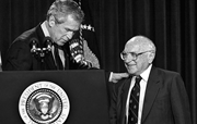 George W. Bush with Milton Friedman, a Right-wing Jewish economist whose th...